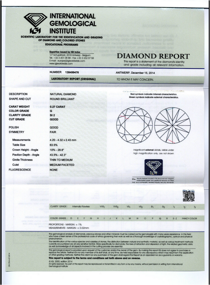 carat weight an according clarity gemological wide report standards s of diamond and strict institute cut international igi to accurate reports assessment a color give certdisplay